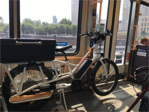 Sunride electric bike on Portland's Max train