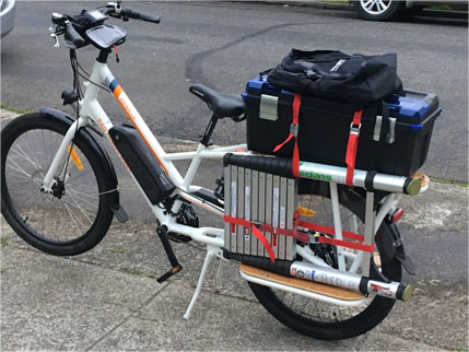 Sunride electric bike outfitted for work