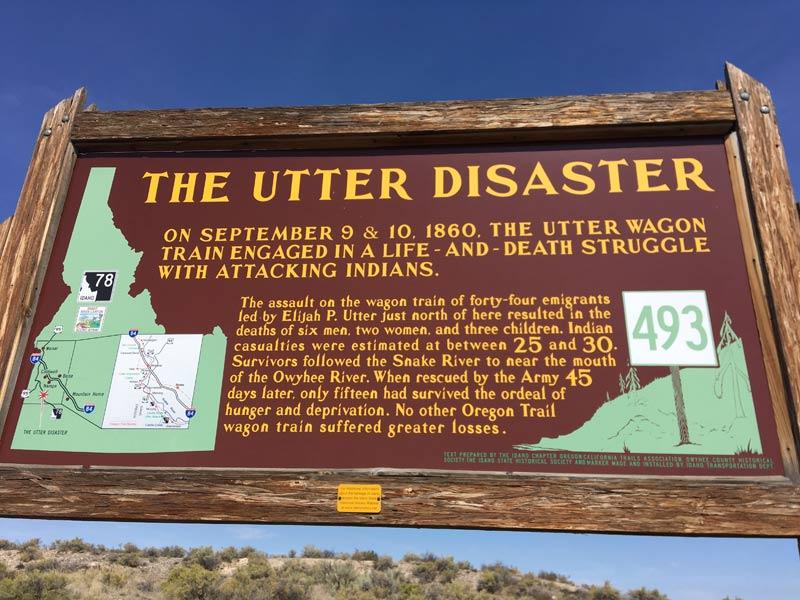 Historical Marker along the Oregon Trail - The Utter Disaster