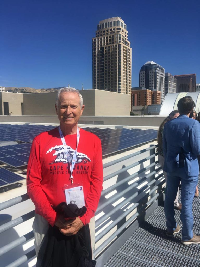 John Patterson at the top of the Salt Palace Convention Center, host to a 1.6 megawatt PV system