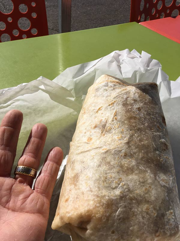 Giant burrito I got at a Food Truck in Paradise, CA