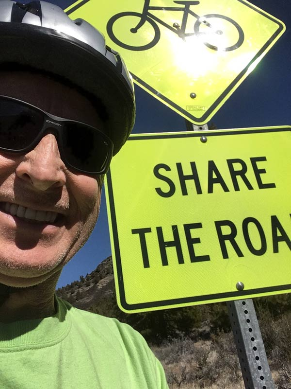 Share the Road sign with a bicycle above - we agree wholeheartedly!