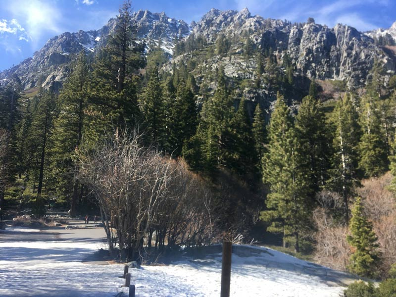 Sierra Mountains rising above Eagle Falls near Emerald Bay, Southwest side of Lake Tahoe