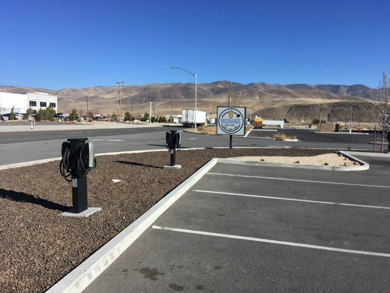 Tesla superchargers at the recharge grill near the Gigafactory.