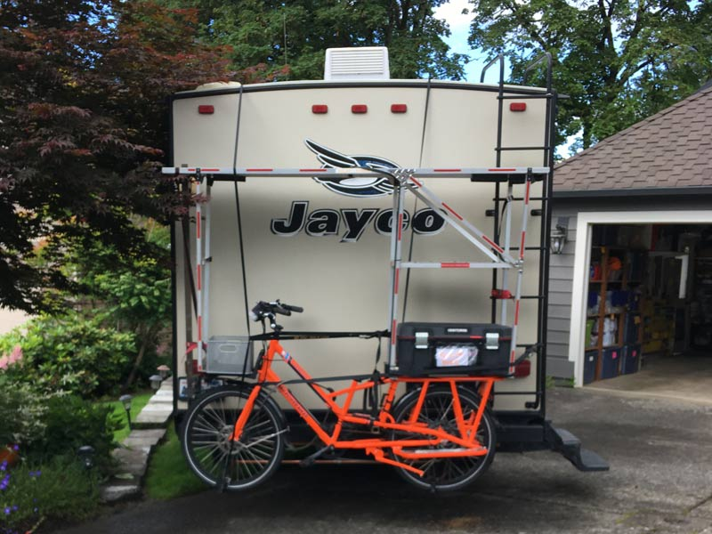 Today we left home in the trailer with the electric bike strapped to the back.