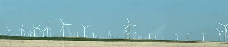 From Sterling, Colorado along the border with Kansas we saw thousands of wind turbines