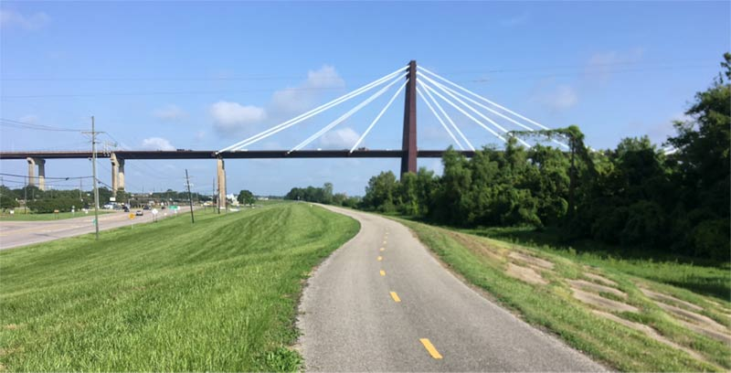 Mississippi River bike trail in New Orleans