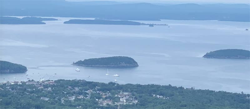 View of Bar Harbor, Maine from Cadillac Mountain