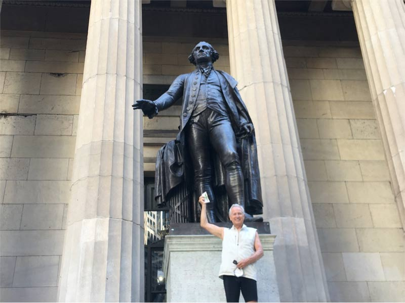 JP offers some cash to George Washington presiding over Wall Street. Invest it well, George!