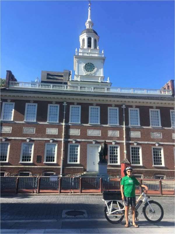 JP with Sunride, Jr. in front of Independence Hall