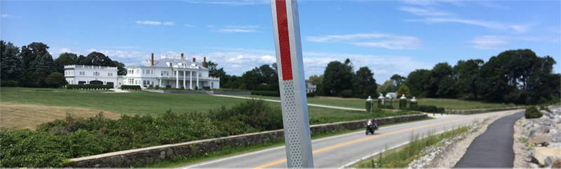 Sunride proceeds along a levy on the New Hampshire coastline