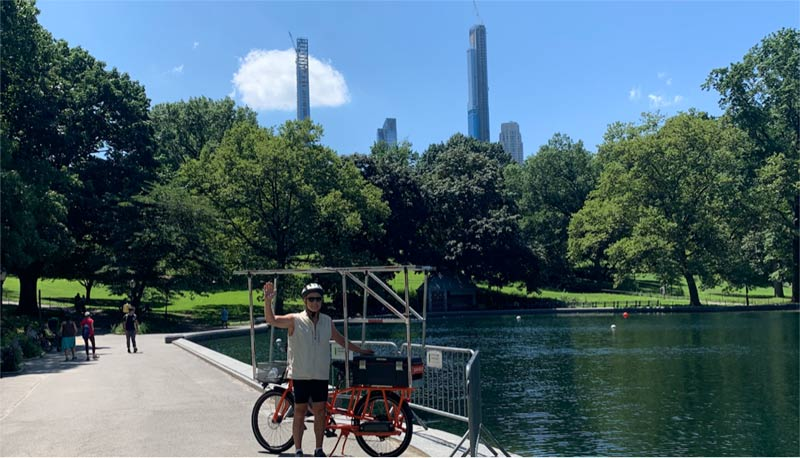 Sunride takes a break by one of the many lakes in Central Park amid new mid-town skyscrapers