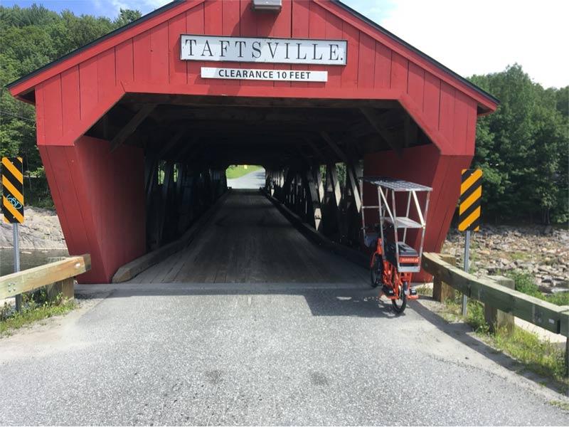Sunride waits to cross the single lane covered bridge at Taftsville