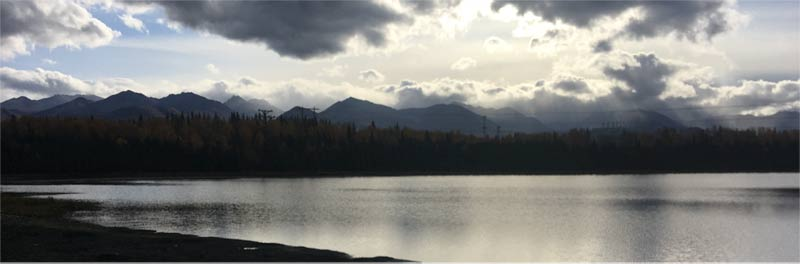 Moose Lake early morning with Alaska Mountains in the background
