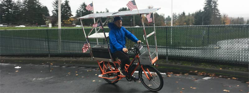 John Patterson on Sunride decked out with American flags - celebrating Election 2020