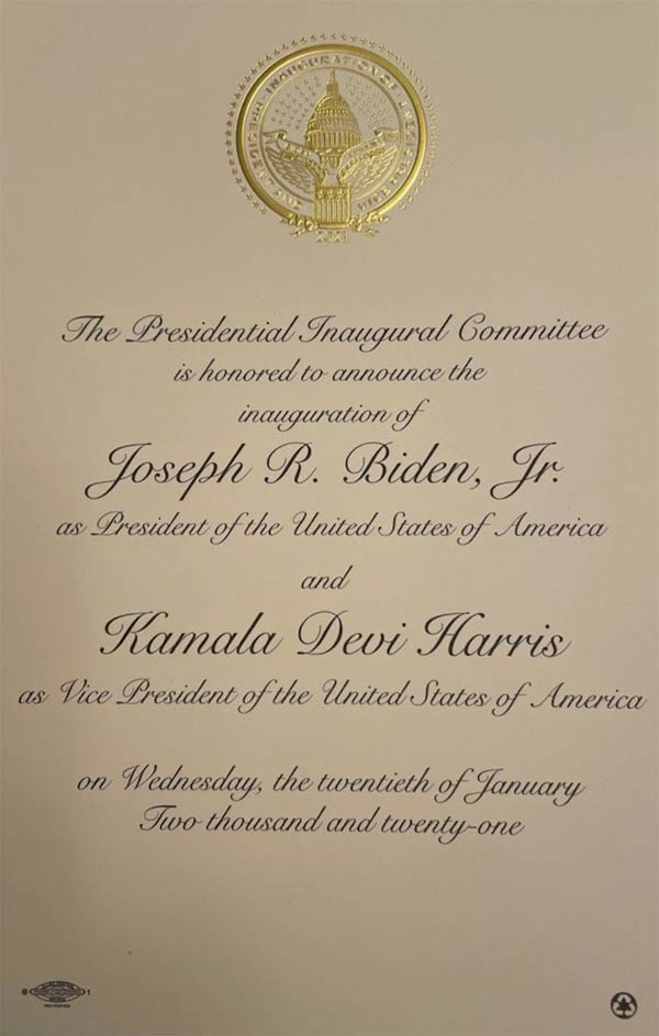 Joe Biden's inauguration invitation. Note in the lower right hand corner the invitation was printed on recycled paper