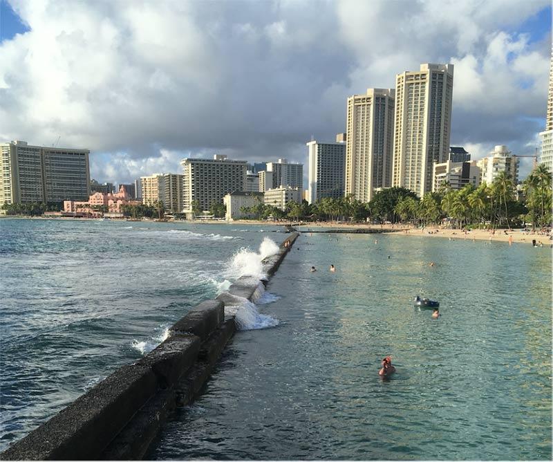 At 7 a.m. this is my own 200-meter endless pool at Waikiki Beach