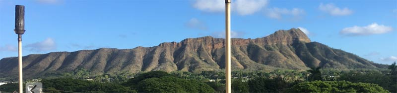 Diamond Head from the terrace of The Deck Restaurant